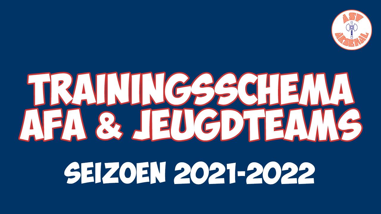 Trainingsschema AFA en Jeugdteams seizoen 21-22